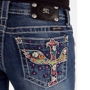 COMING SOON!  Miss Me Psychedelic Cross Skinnies